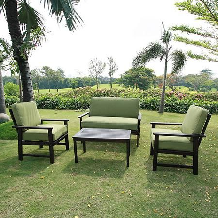 Delahey 4 Piece Patio Conversation Set, Dark Brown, Seats 4