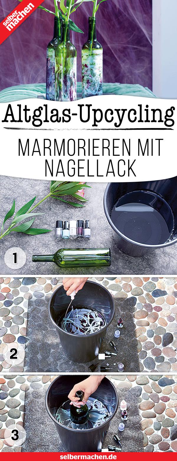 Marmorierte Blumenvase – Schnell gemacht aus alten Flaschen!