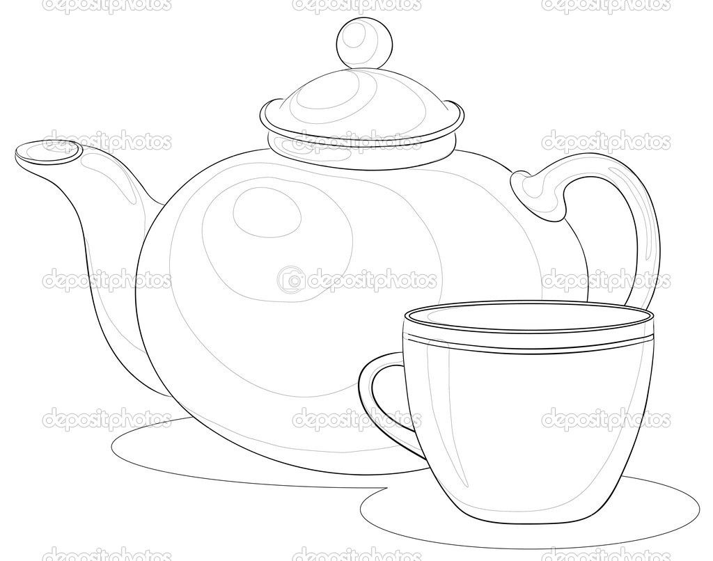 tea drawing cup set teapot drawings sets illustrations vector cups contours