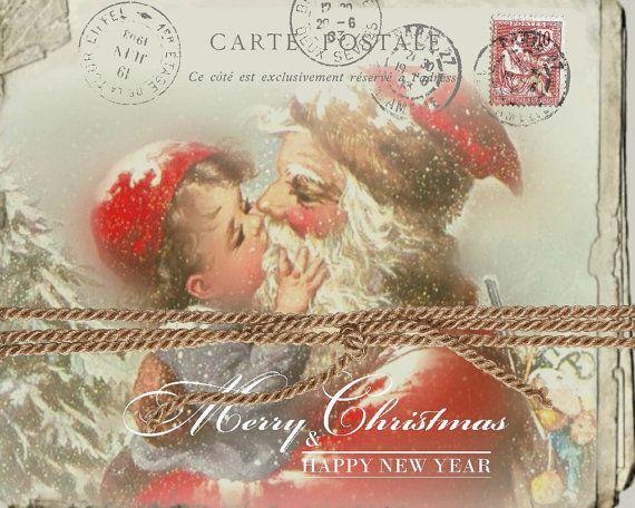 Santa And Boy Postcard Carte Postale Instant Download Vintage Graphics Large Image Transfer Digita Print Collage Vintage Graphics Digital Collage