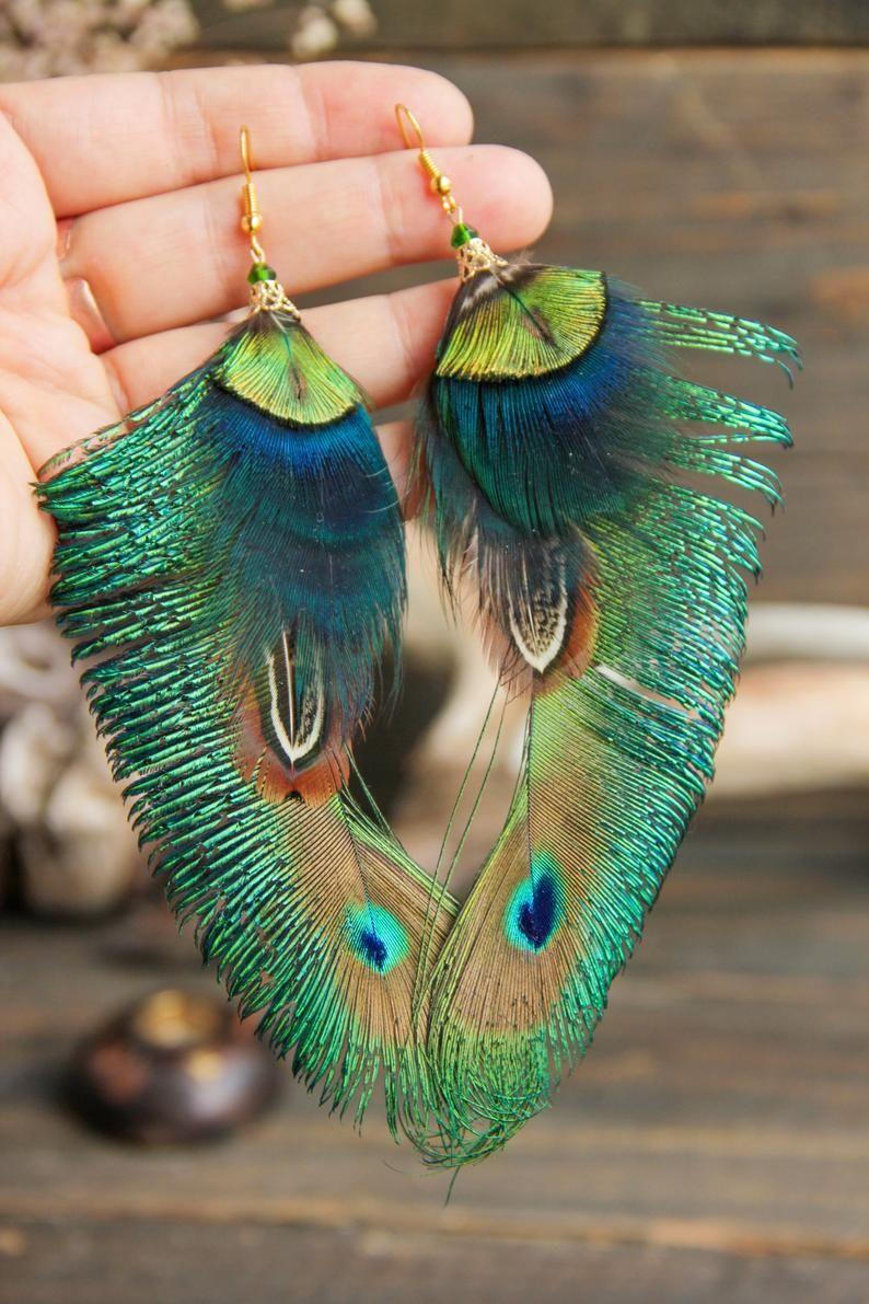 Green Earrings Glass Earrings Gift Idea for Mom Peacock Feather Earrings Feather Jewelry Earrings for Women