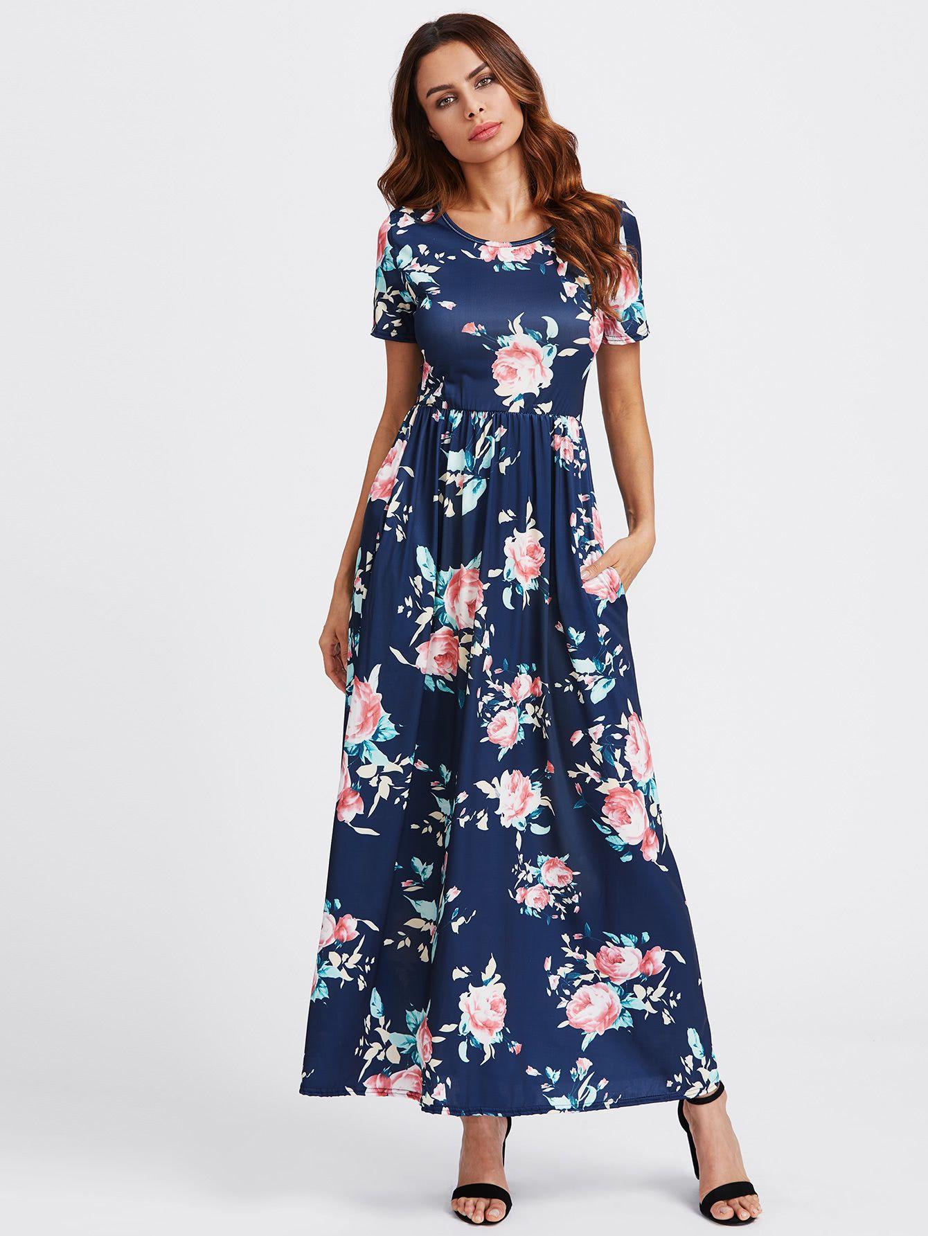 Navy W Pink Flower Print Maxi Dress Hem Above Ankles Round Neck Short Straight Sleeves Polyeste Floral Lace Maxi Dress Maxi Dress Floral Wrap Maxi Dress [ 1785 x 1340 Pixel ]