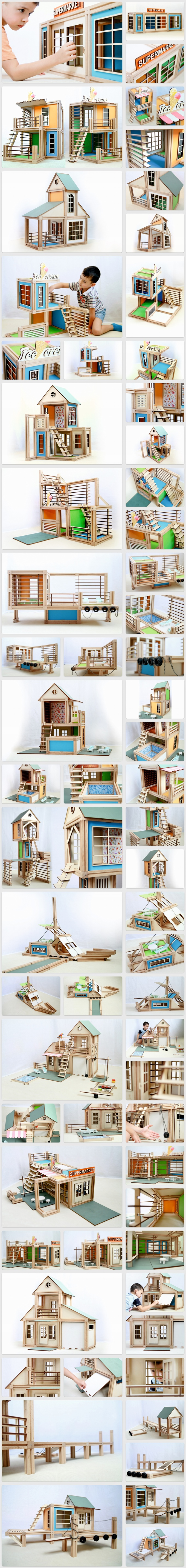Wooden magnetic architectural toy a building block set for