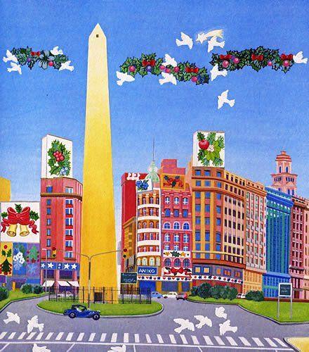 Obelisco Arte Naif Mapa De Argentina Bailarines De Tango