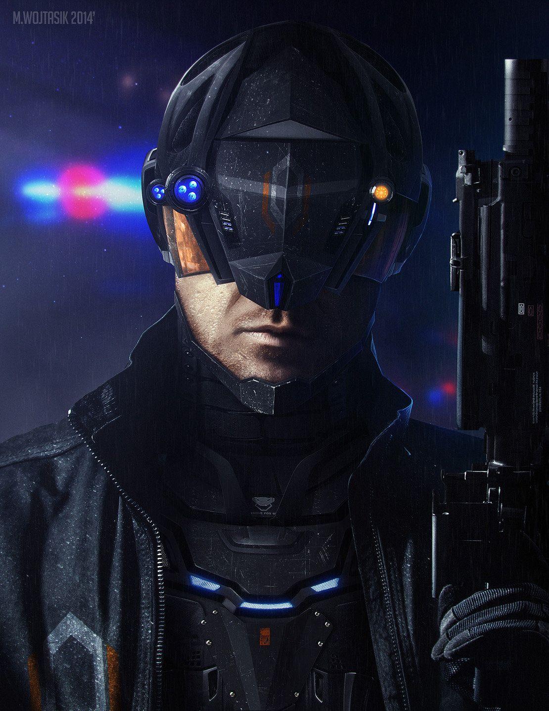 Cyberpunk Police Officer, Milosz Wojtasik on ArtStation at
