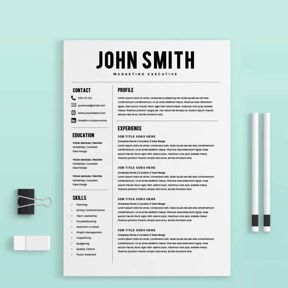 Clean Resume Template Word Mac Pc By Levelupresume On