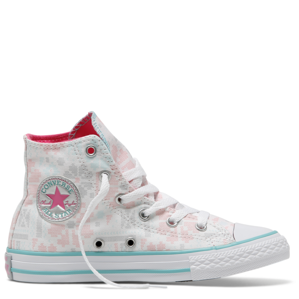 dd48fad6117c Converse Kids Chuck Taylor All Star Junior High Top White Pink Pow ...