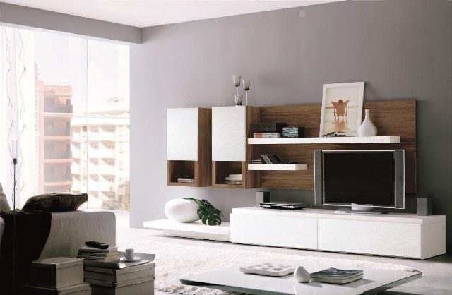 Muebles de sal n blanco con base en madera zb muebles for Muebles de salon zaragoza