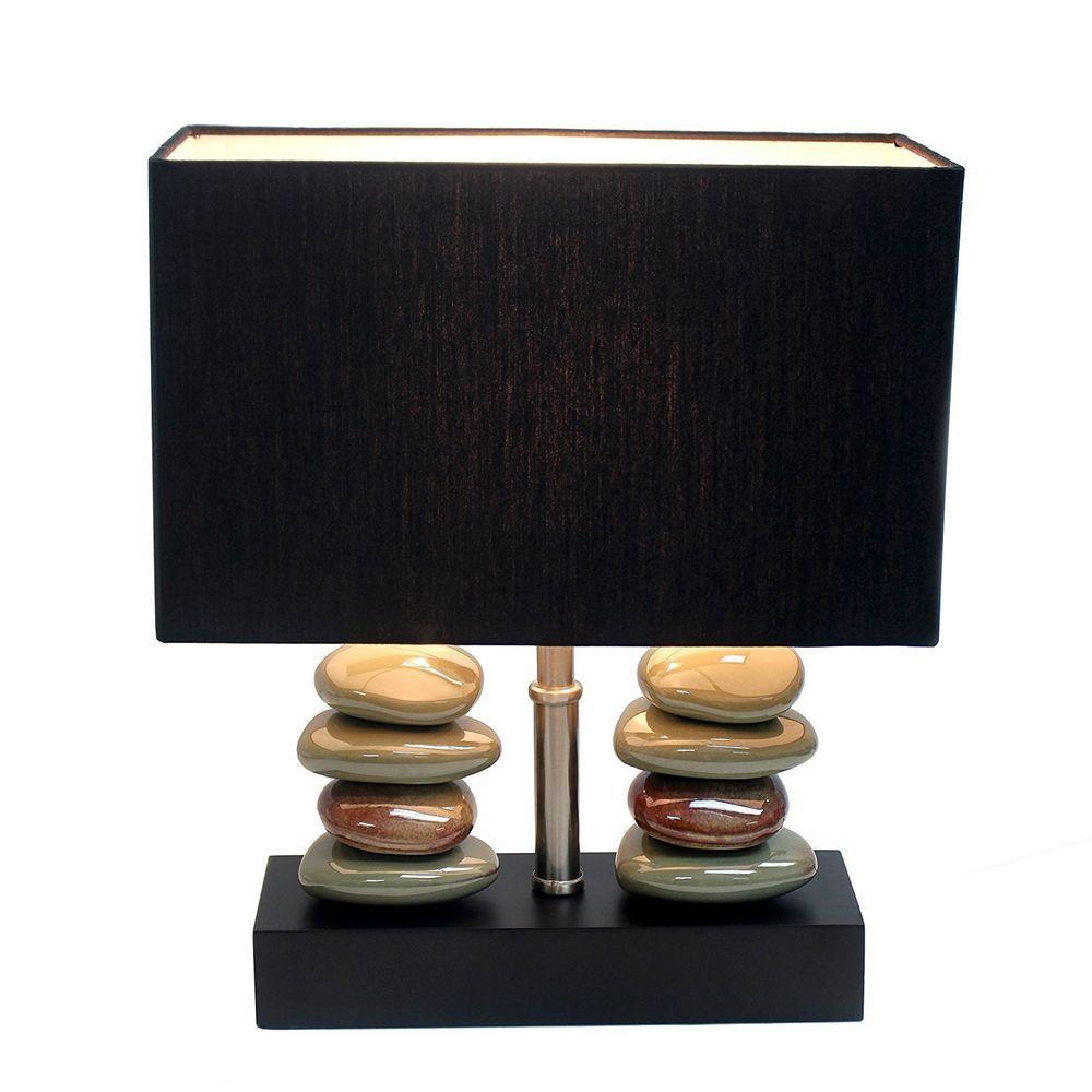 ceramic table lamp zen stones living room bedroom tabletop lighting