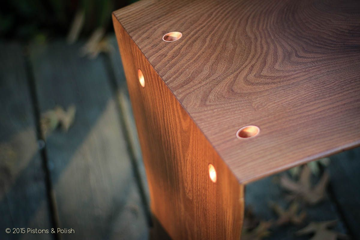 Live Edge Red Elm Waterfall Table Joint Detail With Copper