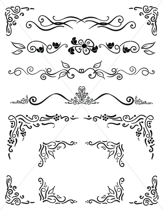 SVG Corners, Ornamental Corbels, Flourish Borders, Digital Download, Divider Lines