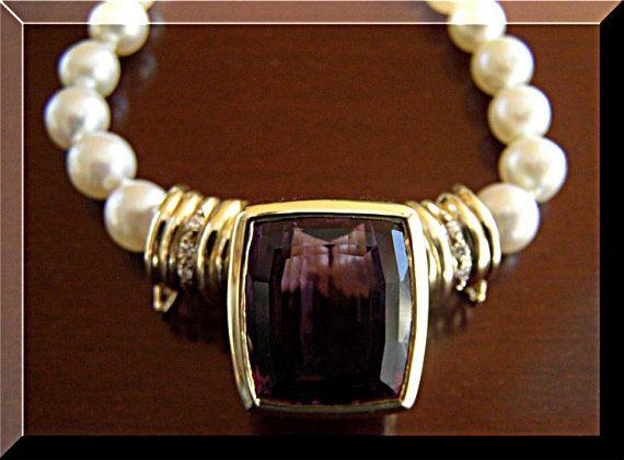 Necklace Amethyst Diamonds Designer Pendant 14K by EuropeanGoodies, $2975.00