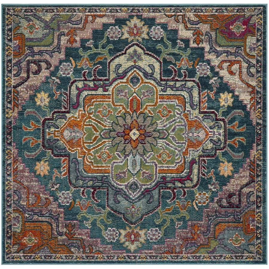 Safavieh Crystal Fable Teal Rose Square Indoor Machine Made Oriental Area Rug Common 5 X 5 Actual 5 Ft W X 5 Ft L C In 2020 Square Area Rugs Teal Rug Area Rugs