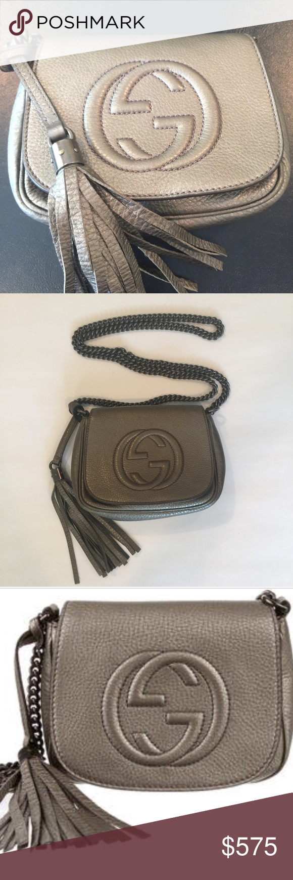 9e10738a3f76 Gucci soho crossbody chain handbag. Authentic Authentic. Pewter pebbled leather  Gucci Soho Chain Crossbody