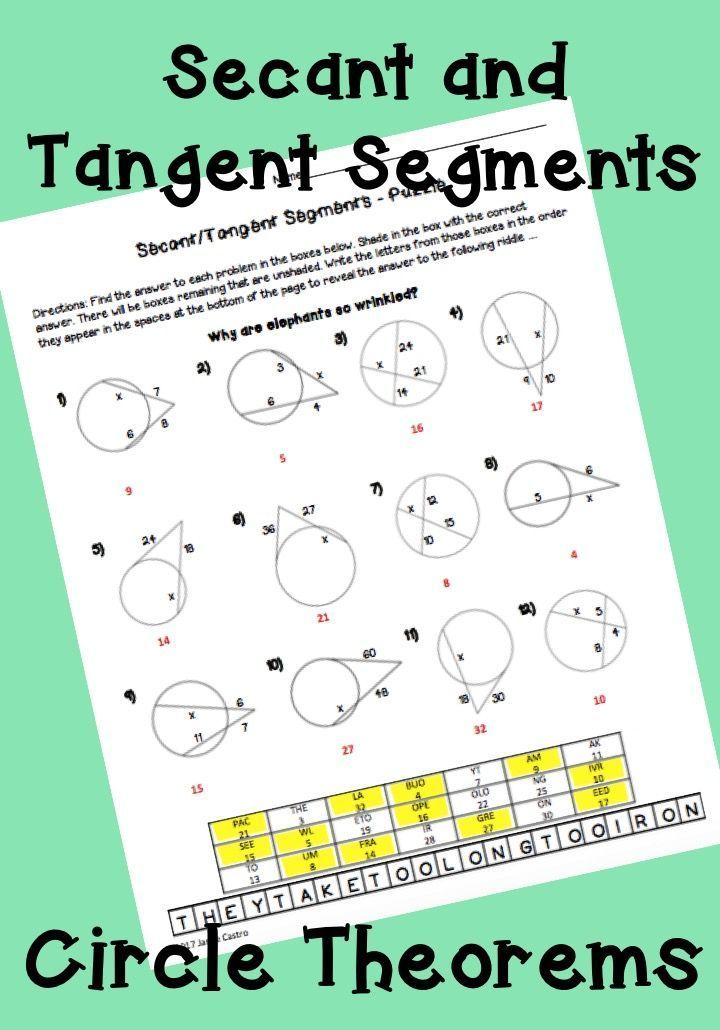 Geometry Circle Theorems: Secant and Tangent Segments - Puzzle ...