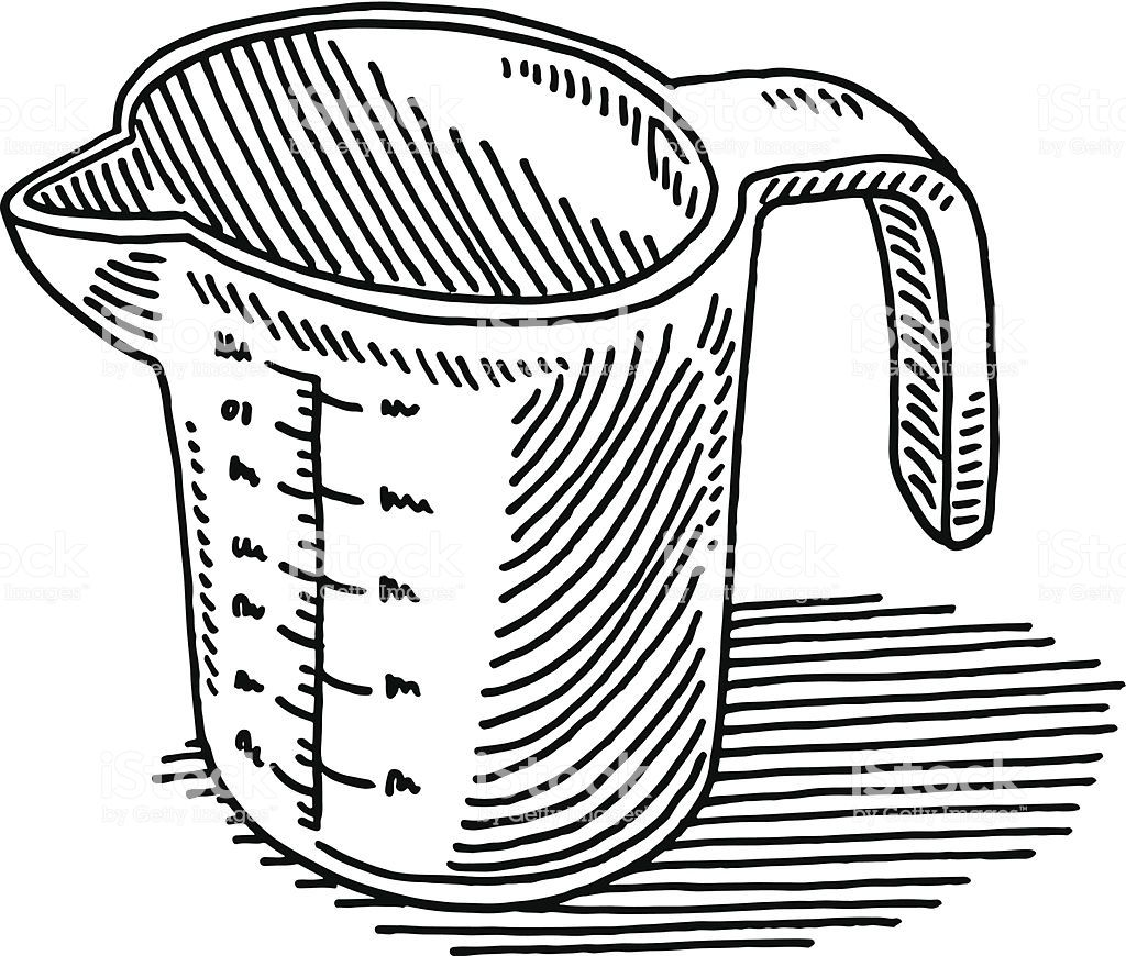 Hand Drawn Vector Drawing Of A Measuring Cup Black And White