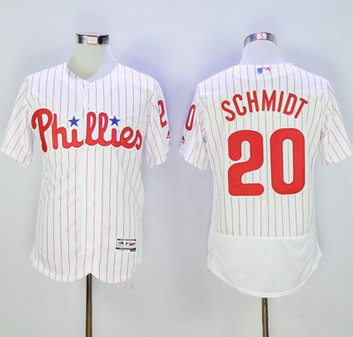 phillies 20 mike schmidt white(red strip) flexbase authentic collection