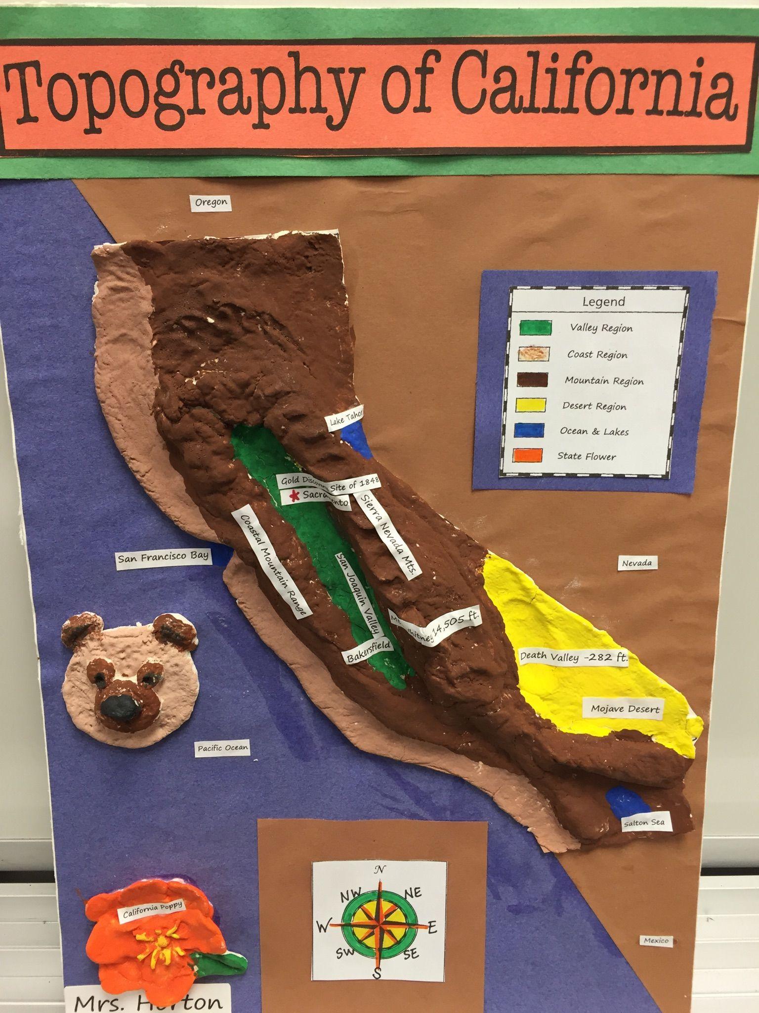 4th Grade California Regions Topography Map | classroom | 4th grade ...