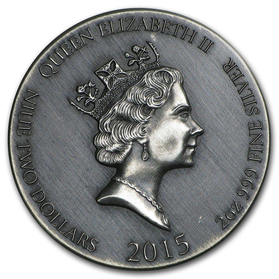 Viking Seriesragnar Rimless Antique Silver 2 Oz Niue 2015 Coins
