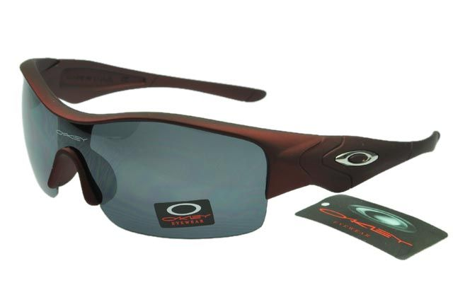 Oakley Asian Fit Sunglasses Dark Red Frame Black Lens 0124
