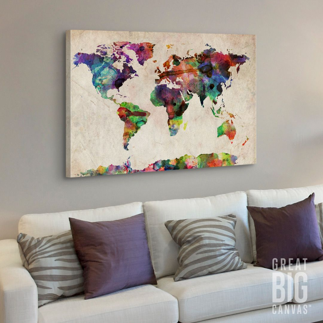 World Map Urban Watercolor | Watercolor, Canvases and Framed prints