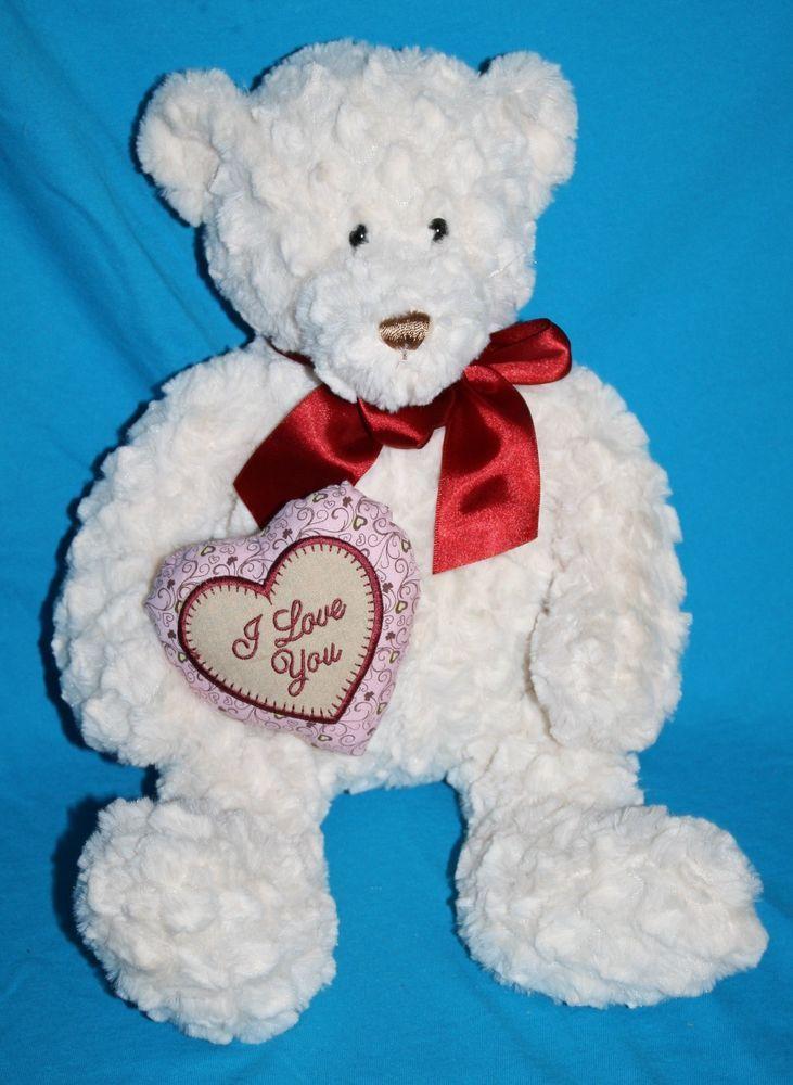 Plush Valentine Teddy Bear I Love You Heart Ivory Textured Stuffed Soft Toy 15 Teddy Bears Valentines Bear Valentines Teddy Bear