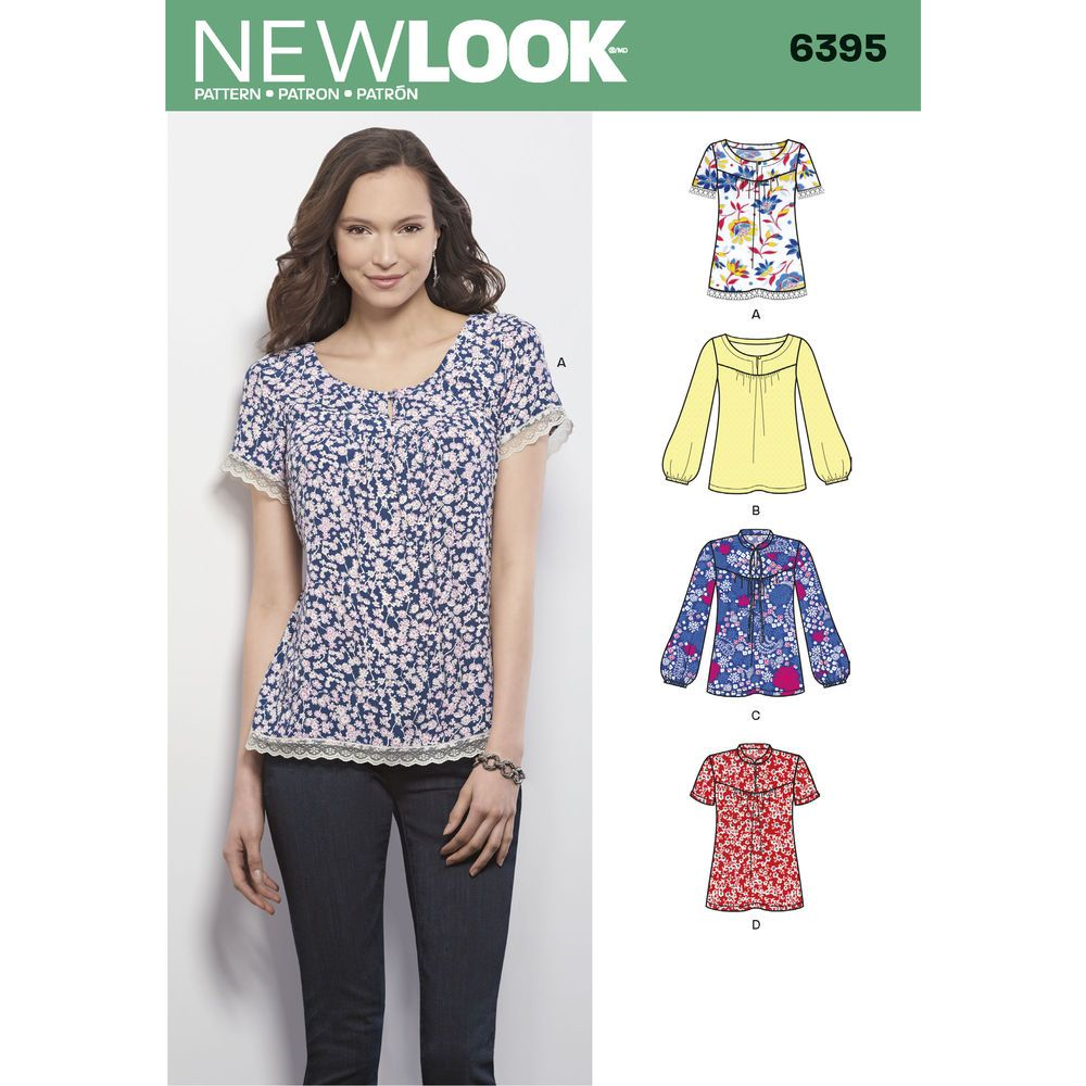 these great tops with front yoke and round neckline or standing collar can be made with short sleeves, or long sleeve with elastic at wrists. new look sewing pattern.