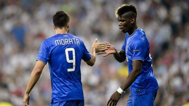 Álvaro Morata thanks Paul Pogba after his header set up the goal