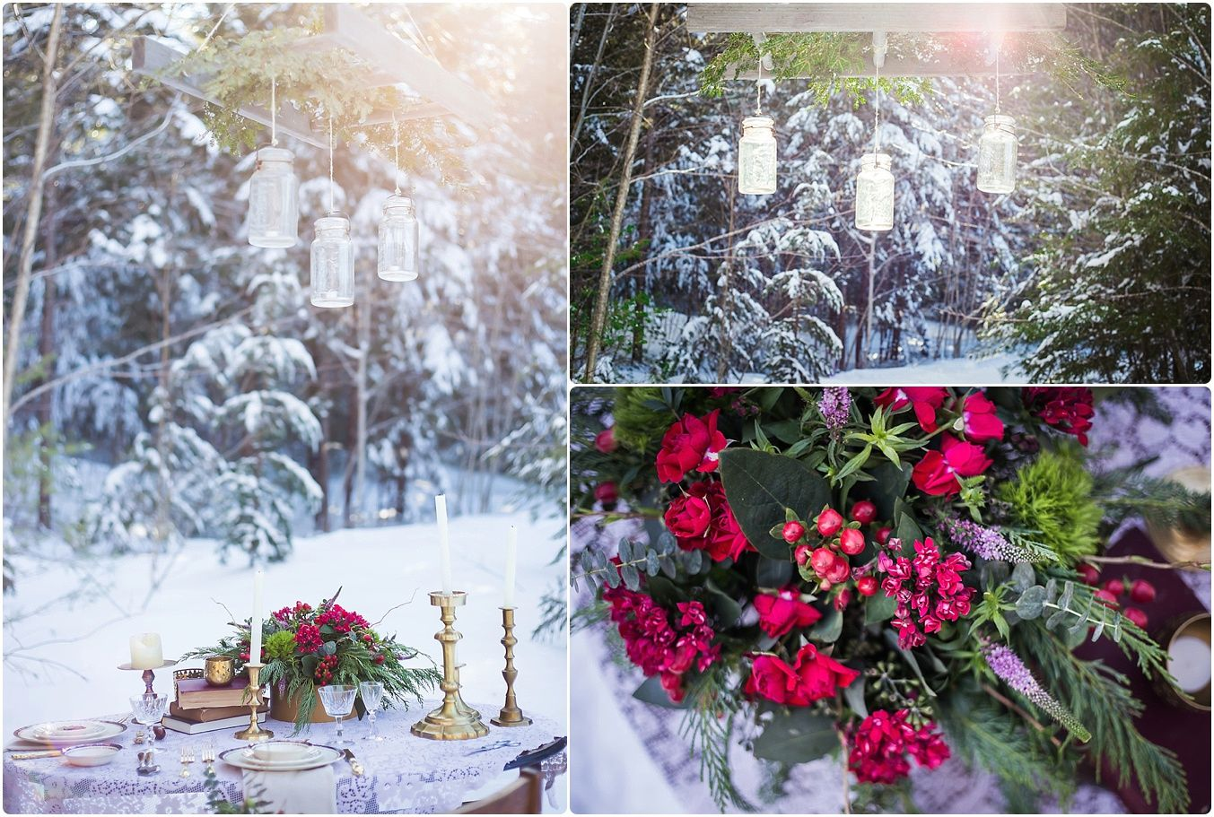 Deep shades of red and pink pop against the snow without looking like Christmas:)