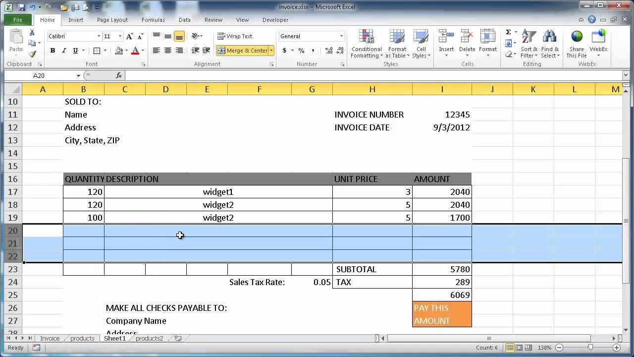 Create An Invoice In Excel   Home