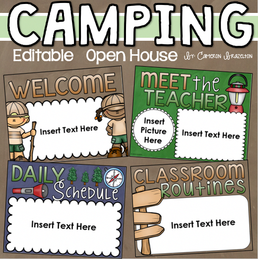 25-slide editable Camping-themed PowerPoint presentation for