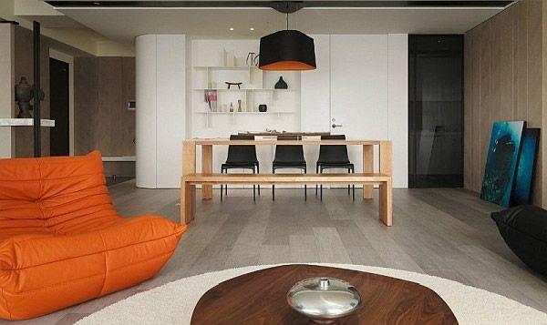 orange Couch in modernen asiatischen Wohnung Architektur Pinterest