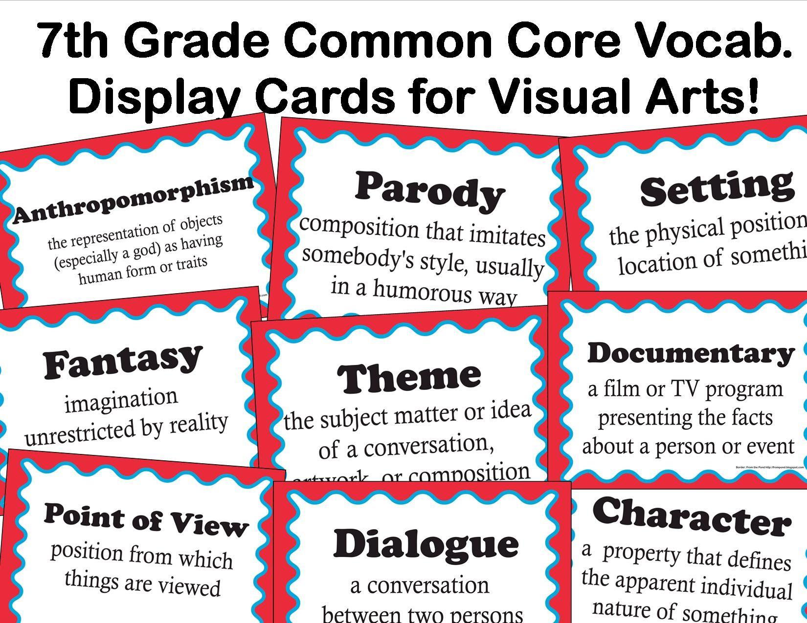 The Smartteacher Resource Common Core Language Arts Vocabulary For Visual Arts For 7th Grade