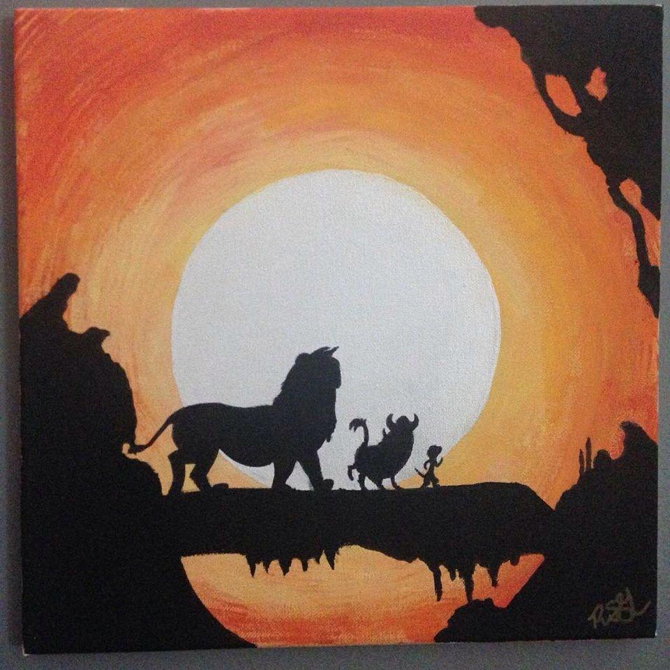 My New Disney S Lion King Hakuna Matata Silhouette Sunset Painting King Painting Silhouette Painting Disney Canvas Art