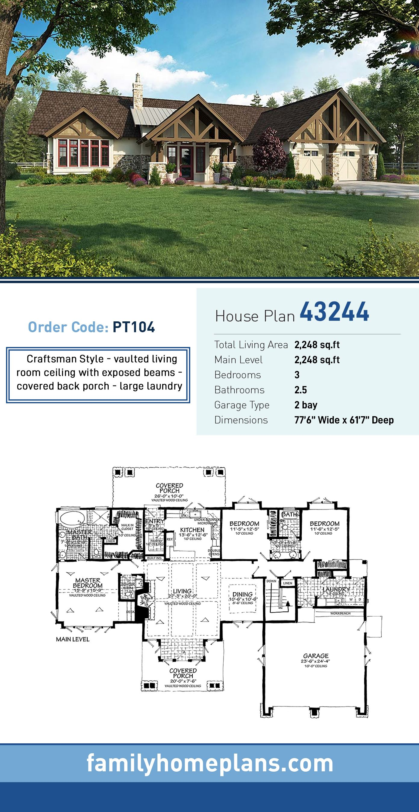 Craftsman Style Ranch Homes : craftsman, style, ranch, homes, Ranch, Style, House, 43244, Bath,, Garage, Plans,, Craftsman, Castle, Design