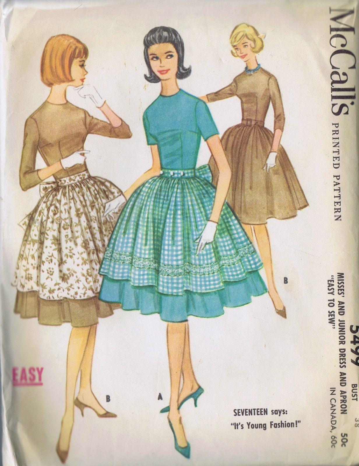 Vintage s mccallus sewing pattern apron dress size bust