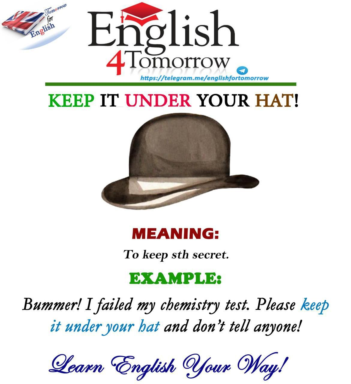 To Keep Sth Under Your Hat Means To Keep Sth Secret English Idioms English Teaching Materials Idioms