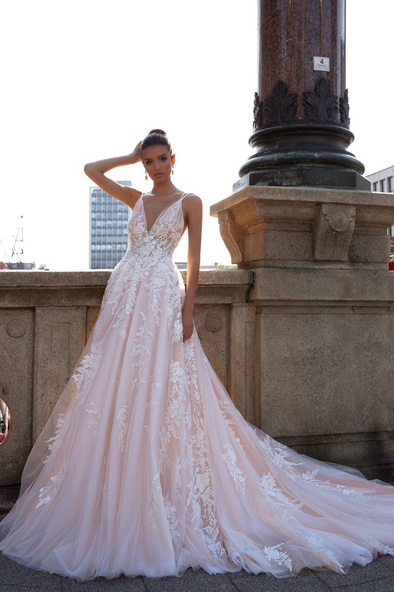 Items similar to A-line wedding dress Kenna, Sleeveless wedding dress, V neckline wedding dress, Lace wedding dress, Blush wedding dress on Etsy