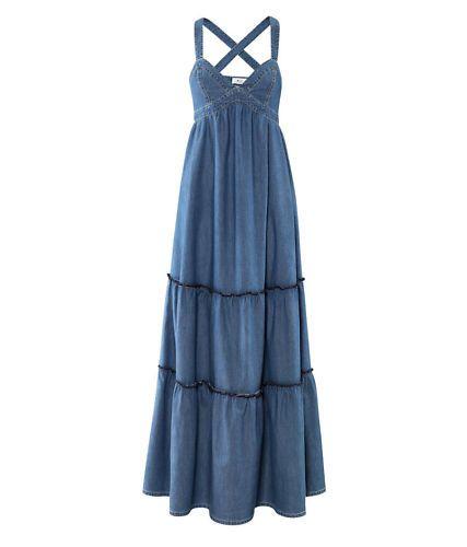 Für Original auswählen viele Stile fairer Preis H&M NWT DENIM BLUE Boho Long Flare Maxi Dress 2 | Dresses ...