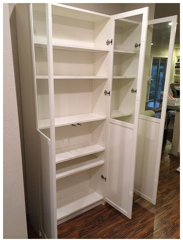 Easy Diy Freestanding Pantry With Doors From A Billy Bookcase Ikea Pantry Billy Bookcase Pantry Furniture