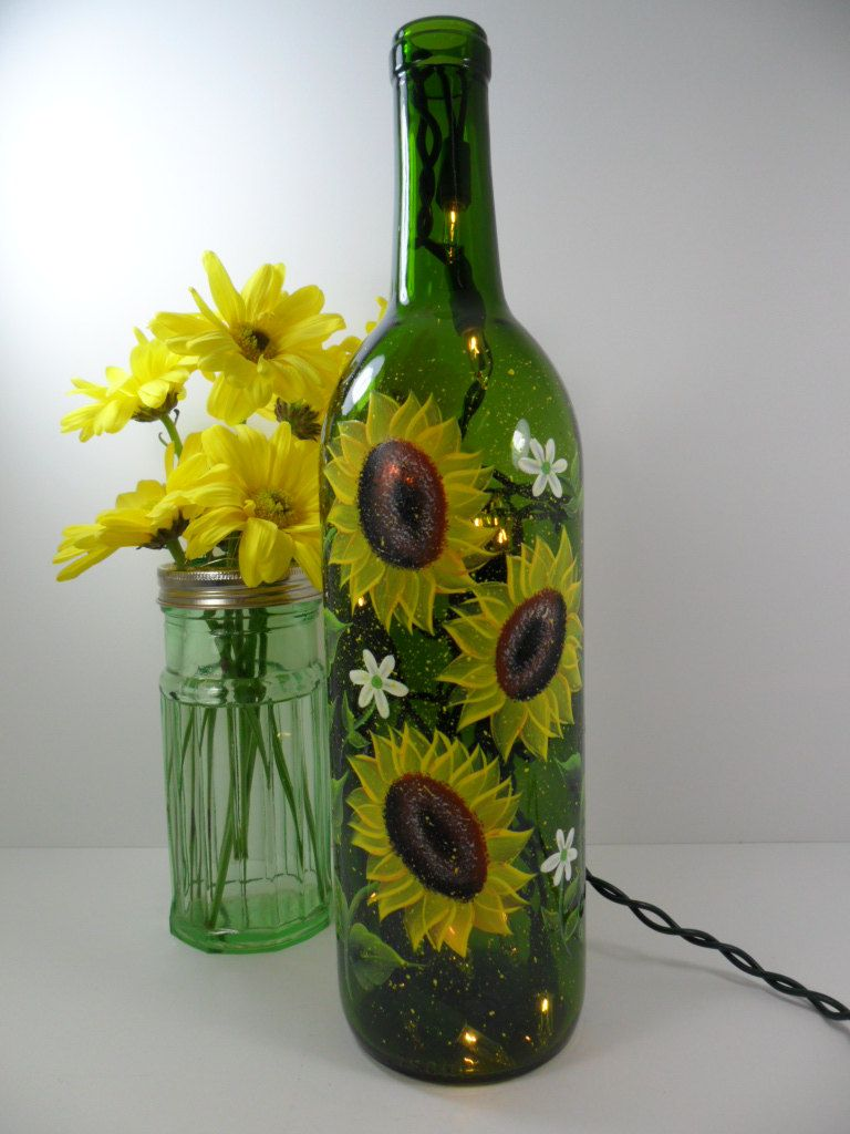 Painted Bottles With Lights Inside Lighted