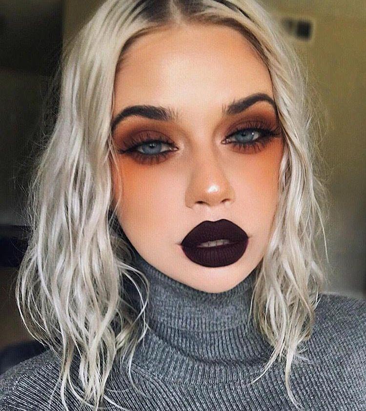 Simple Brown Eyeshadow W Dark Purple Brown Lip Bold Makeup