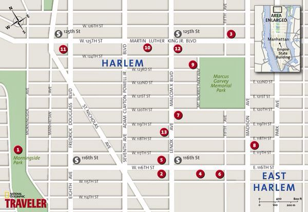 Map Of New York Harlem.National Geographic Map Of Harlem Walking Tour Harlem Walking Tour