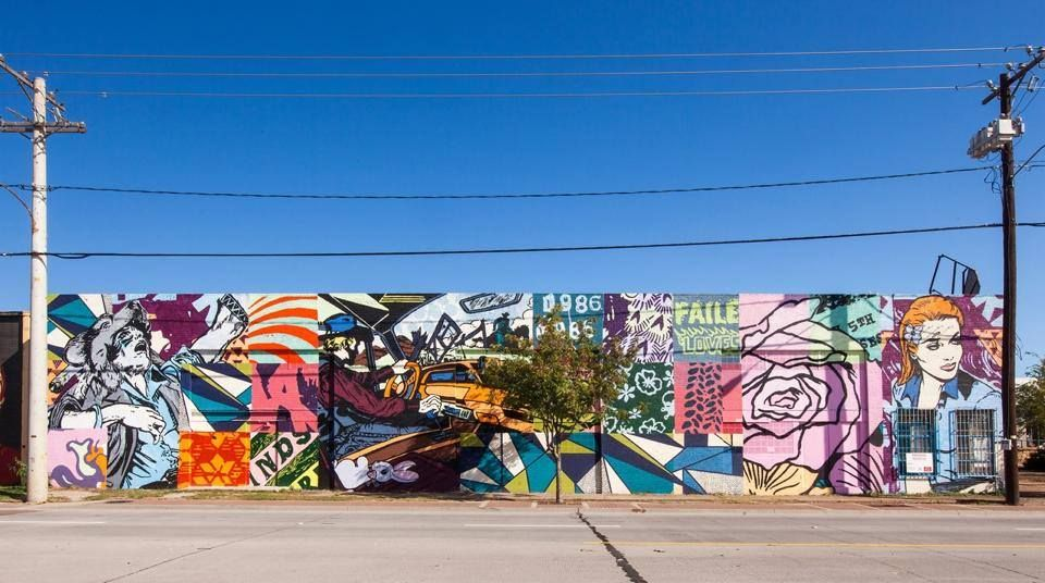 Faile art mural in trinity groves west dallas