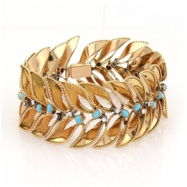 Pre-owned 18K Yellow Gold Wide Diamonds & Turquoise Leaf Design... ($4,550) ❤ liked on Polyvore featuring jewelry, bracelets, blue bangles, 18k gold jewelry, gold diamond jewelry, diamond bangle and gold jewelry
