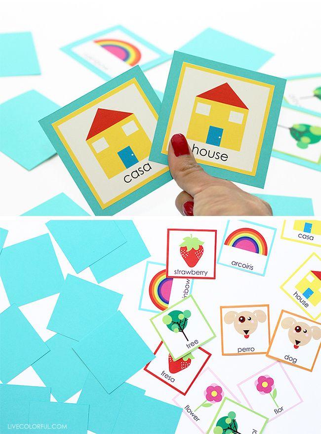 Diy Bilingual Memory Card Game Live Colorful Card Games Memory Cards Cards