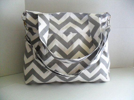 Convertible Handbag in Gray Chevron Fabric -Diaper Bag - Tote Bag - Messenger Bag - Project Bag - Gray Chevron - Monogramming Available