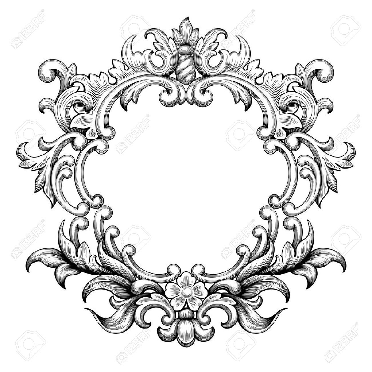 46103804-Vintage-baroque-frame-border-leaf-scroll-floral-ornament ...