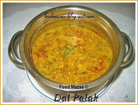 Food Mazaa: DAL PALAK ( Lentils With Spinach )