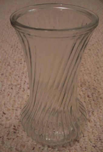 Hoosier Glass Clear Glass Vase With Swirl Pattern And Bulb Bottom